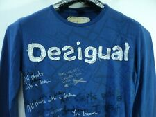 Desigual men long Sleeve T shirt (All starts with a dream )size MD blue