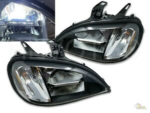 Black 6000K LED Headlights Head Lamps For 1996-2017 Freightliner Columbia