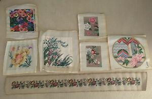 "LOT OF 7 Vintage ART Flowers & Runner Needlepoints Completed 15"" 62"" UNFRAMED"