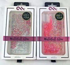 Case-Mate iPhone X Case - Glow in the Dark Pink Liquid Glitter Waterfall