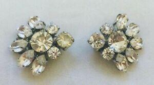 Beautiful Vintage Czech Clear Crystal Clip on Earrings 50 -60th