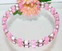 Kette Halskette Würfelkette Würfel Walzen miracle Glas crash rosa silber 298L