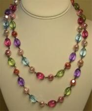 "JOAN RIVERS GUNMETAL FINISH JEWEL TONE BEAD & BAROQUE PEARL 40"" NECKLACE NOS"