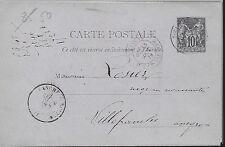 ENTIER  POSTAL  CARTE POSTALE  TYPE SAGE 1887 VOSGES