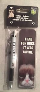 New Grumpy Cat Gel Pen with Bookmark - 1 Gel Pen, 1 Bookmark. Made by Ink Works