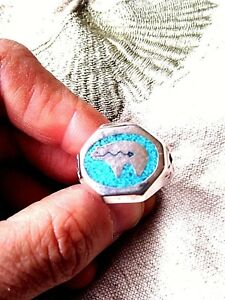 1980's Vintage Silver Bronze Men's Bear Real Turquoise Inlay Southwestern Ring