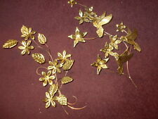Brass Hummingbirds and leaves set 20 x 10 Vintage Homco Home Interiors