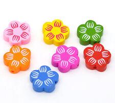50 Mixte Perles Bois Fleur Multicolore 20x20mm