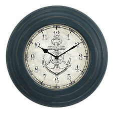 "Bbb85395 La Crosse Clock Company 14"" Blue Metal Frame Analog Wall Clock"