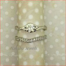 Engagement Ring Set 925 Sterling Silver 1.5Ct Off White Round Moissanite Ring