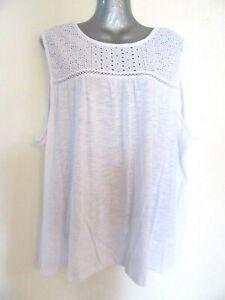 NEW White Prairie Sleeveless Singlet Top Soft Stretchy Embroidered BNWT 2XL