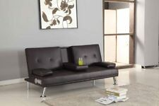 Bluetooth Cinema Sofa Bed With Drink Cup Holder Table Faux Leather 4 Colours Chocolate