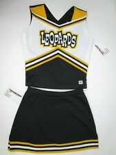 "New Adult Leopards Cheerleader Uniform Outfit Costume 34"" Top Elastic Skirt"