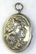 ART NOUVEAU ANTIQUE LARGE STERLING SILVER LADY FACE AND HAIR LOCKET