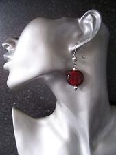 Chunky Silvertone/Red Dangly Earrings