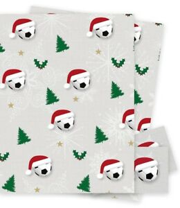 2 x Christmas Football GiftWrap 70x50cm  Wrapping Paper Soccer Game Match