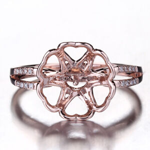Solid 10k Rose Gold Round 8-12mm Pearl Diamonds Semi Mount Ring Setting Jewelry