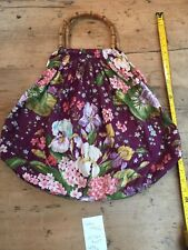 VINTAGE HAND MADE PURPLE FLORAL COTTON SEWING/COSMETIC/TOILETRY/HAND BAG