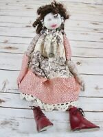 Vtg Button Joint Cloth Sculpted Doll Toile Brown Curly Hair Handmade Sits OOAK