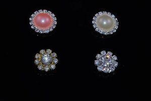 10 Gold, Silver 16mm Diamante  or Pearl 21mm Diamante Crystals Buttons Craft DIY