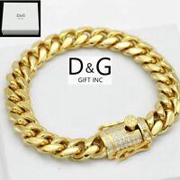 "DG Men's 8.5"" Gold.Stainless Steel 10mm,Miami Cuban ICED-OUT CZ Bracelet,BOX"