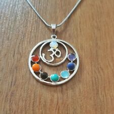 7 Chakras Fashion OM Necklace Reiki Stones Pendant Healing Health Amulet