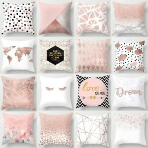 Pink Pillow Cases Rose Gold Geometric Pineapple Glitter Cushion Cover Home Decor