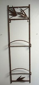 Wrought Iron double Plate display Rack wall hanging brown w/ bamboo leaf design