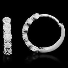 14k White Gold Cubic Zirconia Hinged Huggie Hoop Earrings 0.50Ct
