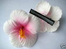 Hawaiian Hawaii Bridal Wedding Party Flower Hair Clip White Pink Hibiscus QTY 2