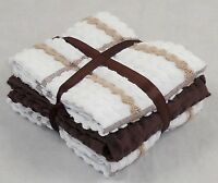Kitchen Terry Tea Towels Chocolate Brown and White Checked 100% Cotton 6 Pack