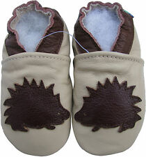 carozoo hedgehog cream 7-8y soft sole leather kids shoes