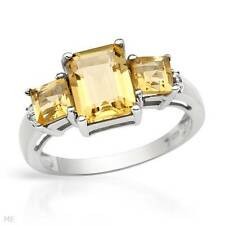 2.24 CT GENUINE CITRINES AND DIAMONDS 925 STERLING SILVER RING  SZ 7 NEW