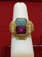 Beautiful Aquamarine / Pink Turmaline & Diamond Cocktail Ring in Solid 14K