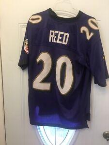 Reebok Ed Reed Baltimore Ravens Jersey Large Purple Black Football Kids