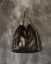 Stella McCartney Falabella Large Black Metallic Handbag Shoulder Chain Tote