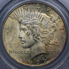 1922 LIBERTY PEACE DOLLAR SILVER PCGS MS64 SELECT LUSTER BU COLOR TONED BLUE (MR