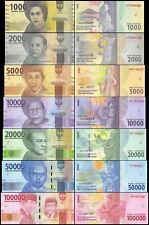 Indonesia Set 7 PCS, 1000 2000 5000 10000-100000 Rupiah, 2016/2017, GEM UNC