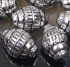 10 Antique Silver Metal Plated  Acrylic Barrel Craft Beads 21x15mm