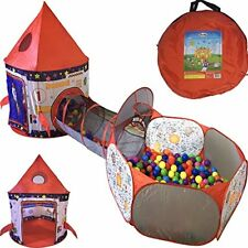 Playz 3pc Rocket Ship Astronaut Kids Play Tent, Tunnel, & Ball Pit with Hoop for