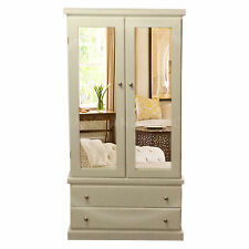 HAND MADE FURNITURE CAMBRIDGE DOUBLE MIRRORED WARDROBE WHITE/SILVER( ASSEMBLED)