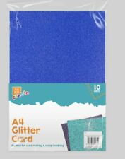 10 Sheets Of A4 Glitter Card purple, silver, gold, blue and green.