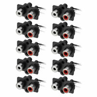 PCB Panel Mount 2 RCA Socket Female Jack Audio Connector Black 3pins 10Pcs