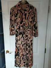 KAREN MILLEN LADIES BLACK BROWN FLORAL IRIS LEAF BELTED SHIRT DRESS SIZE 10