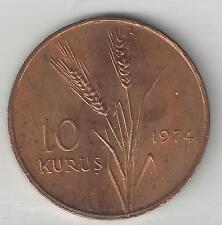TURKEY,  1974,  10 KURUS,  BRONZE,  KM#898.2,  CHOICE BRILLIANT UNCIRCULATED