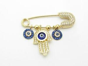 Yellow Gold Sterling Silver White Blue Sapphire Evil Eye Kabbalah Baby Pin Gift