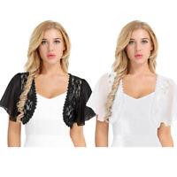 Plus S-3XL Lady Women Lace Chiffon Bolero Shrug Jacket Cropped Top Cardigan Wrap