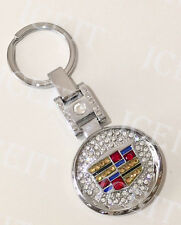 Cadillac KEY CHAIN STAINLESS STEEL Front & Back W SWAROVSKI CRYSTALS Double Side