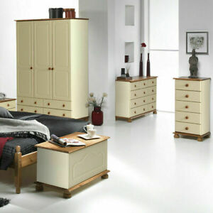 Cream and Pine Quality Bedroom Furniture Wardrobes Chest of Drawer Bedside Table