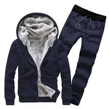 Mens Winter Warm Tracksuit Velvet Hooded Sweatshirt Hoodies Coat Sport Pants Set